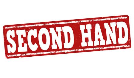 second hand: Second hand grunge rubber stamp on white background, vector illustration Illustration