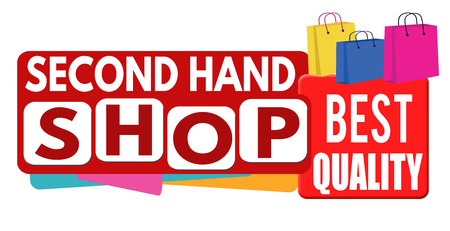 second hand: Second hand shop banner or label for business promotion on white background,vector illustration