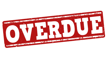 the delayed: Overdue grunge rubber stamp on white background, vector illustration