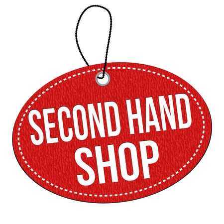 second hand: Second hand shop red leather label or price tag on white background, vector illustration