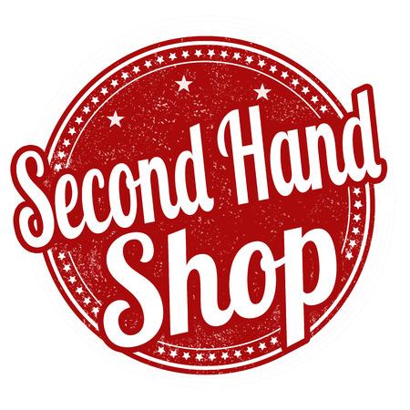 second hand: Second hand shop grunge rubber stamp on white background, vector illustration Illustration