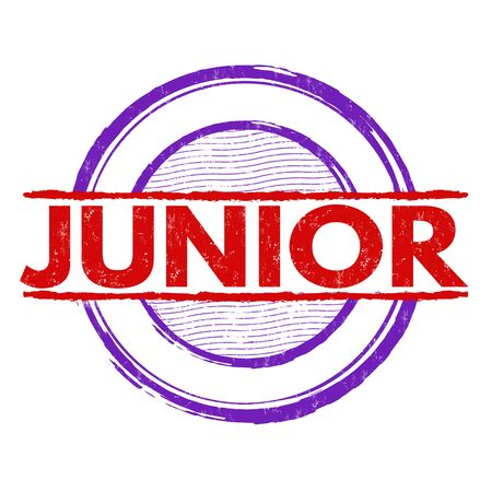 studying computer: Junior grunge rubber stamp on white background, vector illustration