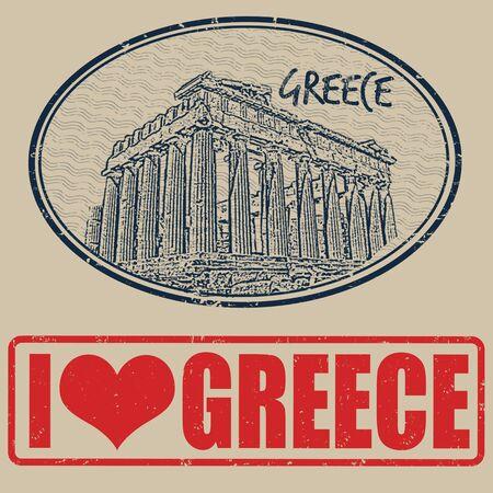 acropolis: Set of grunge rubber stamps with Greece, vector illustration Illustration