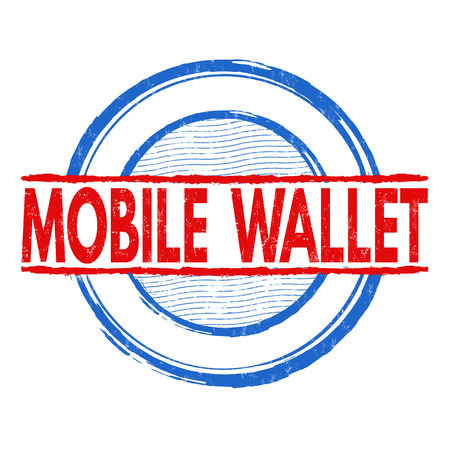 e systems: Mobile wallet grunge rubber stamp on white background, vector illustration