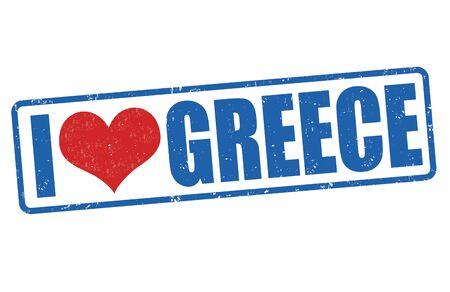 greece stamp: I love Greece grunge rubber stamp on white background, vector illustration