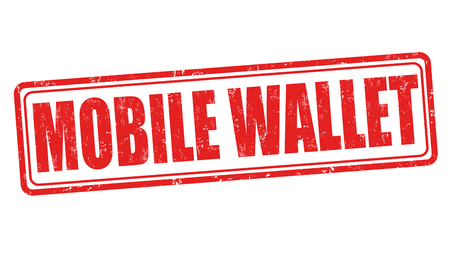 e ink: Mobile wallet grunge rubber stamp on white background, vector illustration