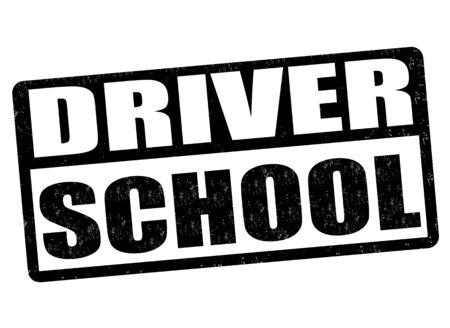 driver license: Driving school grunge rubber stamp on white background, vector illustration Illustration