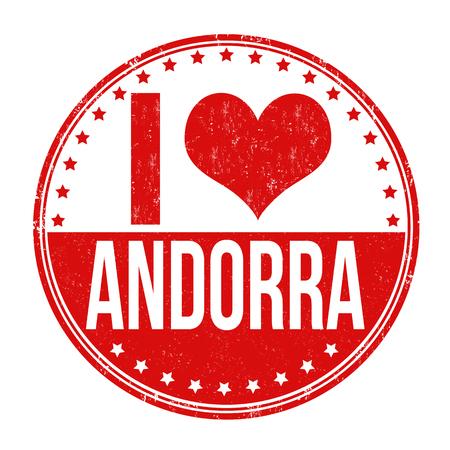 tourism in andorra: I love Andorra grunge rubber stamp on white background, vector illustration