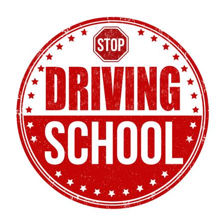 Driving school grunge rubber stamp on white background, vector illustration