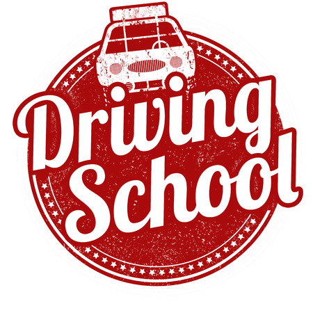 Driving school grunge rubber stamp on white background, vector illustration Illustration