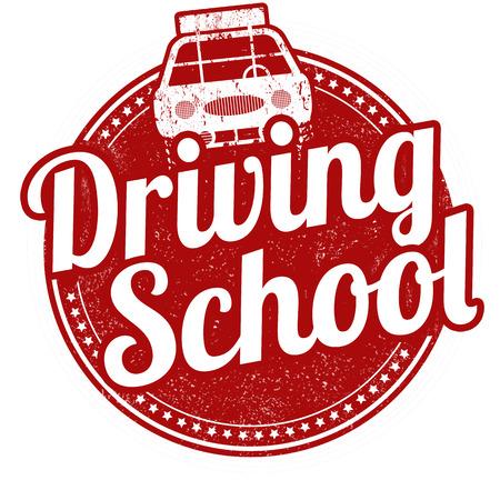 Driving school grunge rubber stamp on white background, vector illustration Vettoriali