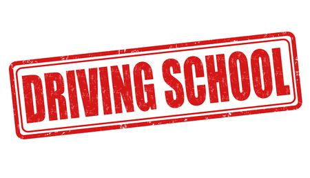motoring: Driving school grunge rubber stamp on white background, vector illustration Illustration