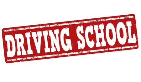 Fahrschule Grunge-Stempel auf weißem Hintergrund, Vektor-Illustration