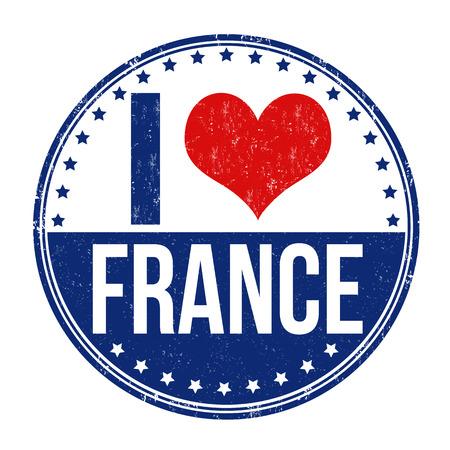 france stamp: I love France grunge rubber stamp on white background, vector illustration Illustration
