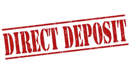 storehouse: Direct deposit grunge rubber stamp on white background, vector illustration
