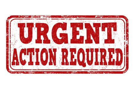 required: Urgent action required grunge rubber stamp on white background, vector illustration Illustration