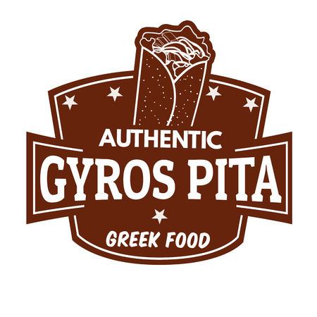 seasoned: Gyros label or stamp on white background, vector illustration Illustration