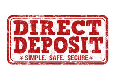 Direct deposit grunge rubber stamp on white background, vector illustration