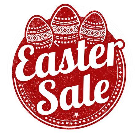 e ink: Easter sale grunge rubber stamp on white background, vector illustration