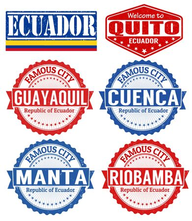 guayaquil: Set of grunge rubber stamps with names of Ecuador cities, vector illustration