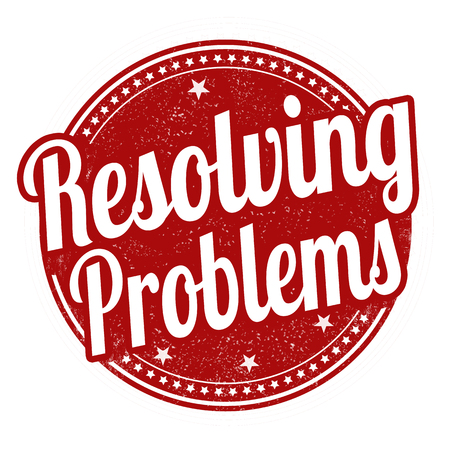 resolved: Resolving problems grunge rubber stamp on white background, vector illustration