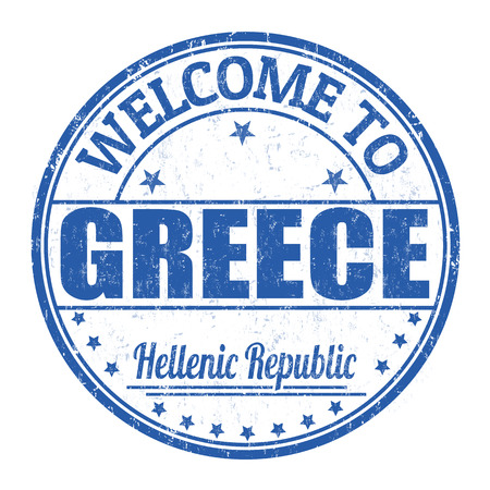 greece stamp: Welcome to Greece grunge rubber stamp on white background, vector illustration Illustration