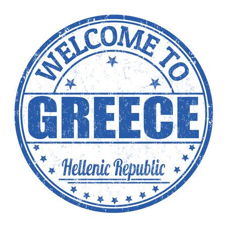 best travel destinations: Welcome to Greece grunge rubber stamp on white background, vector illustration Illustration