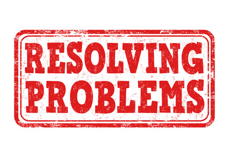 resolving: Resolving problems grunge rubber stamp on white background, vector illustration