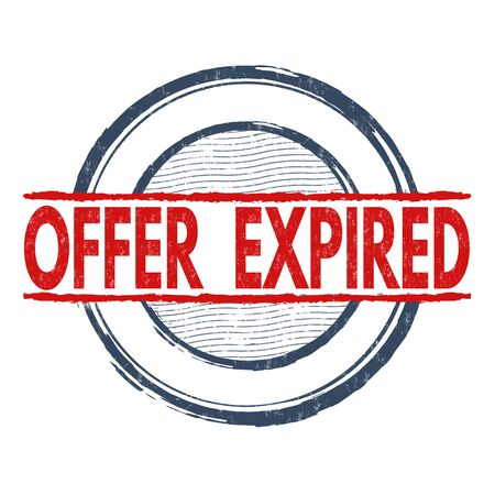 offers: Offer expired grunge rubber stamp on white background, vector illustration