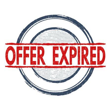 validity: Offer expired grunge rubber stamp on white background, vector illustration