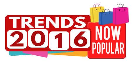business trends: Trends 2016 banner or label for business promotion on white background,vector illustration Illustration