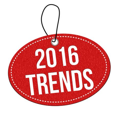 tendency: 2016 trends red leather label or price tag on white background, vector illustration