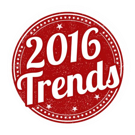tendency: 2016 trends grunge rubber stamp on white background, vector illustration Illustration