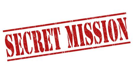 secrets: Secret mission grunge rubber stamp on white background, vector illustration