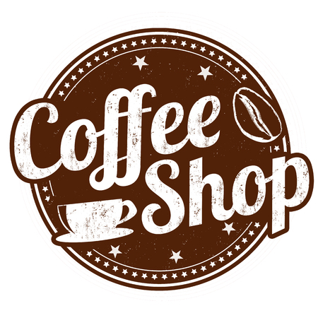 vintage sign: Coffee shop grunge rubber stamp on white background, vector illustration Illustration