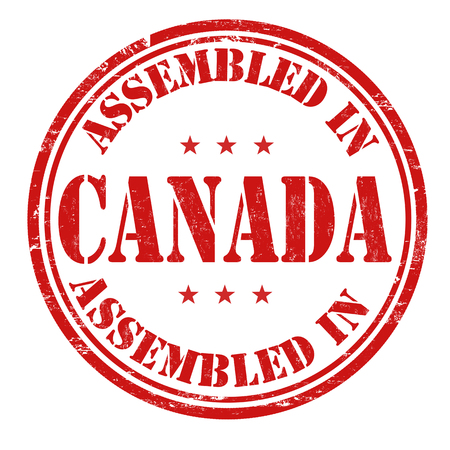 canada stamp: Assembled in Canada grunge rubber stamp on white background, vector illustration