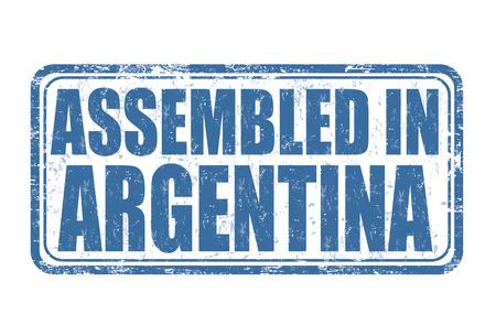 assembled: Assembled in Argentina grunge rubber stamp on white background, vector illustration