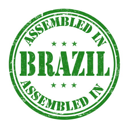 made manufacture manufactured: Assembled in Brazil grunge rubber stamp on white background, vector illustration