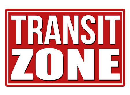 foreigner: Transit zone red sign isolated on a white background, vector illustration