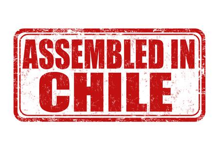 assembled: Assembled in Chile grunge rubber stamp on white background, vector illustration Illustration