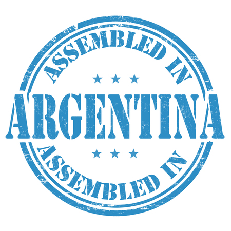 made manufacture manufactured: Assembled in Argentina grunge rubber stamp on white background, vector illustration
