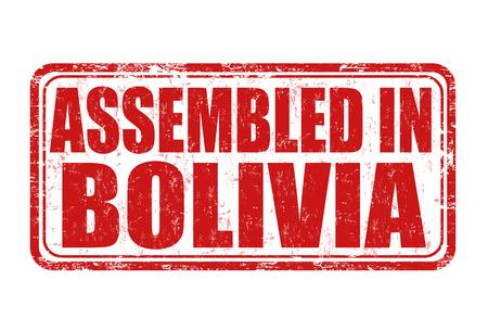 assembled: Assembled in Bolivia grunge rubber stamp on white background, vector illustration