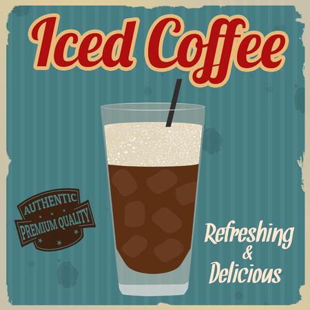 fredo: caffè freddo poster d'epoca grunge su sfondo blu, illustrazione vettoriale
