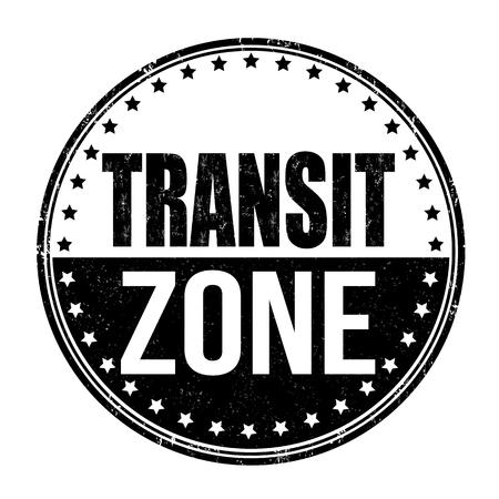 foreigner: Transit zone grunge rubber stamp on white background, vector illustration