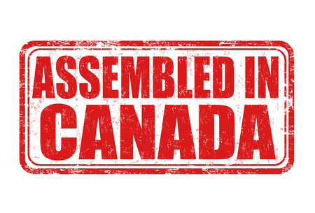 assembled: Assembled in Canada grunge rubber stamp on white background, vector illustration