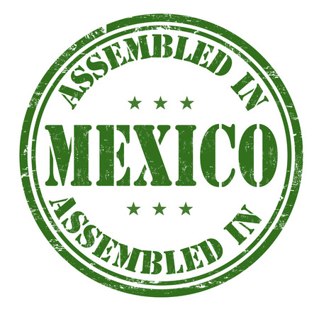assembled: Assembled in Mexico grunge rubber stamp on white background, vector illustration