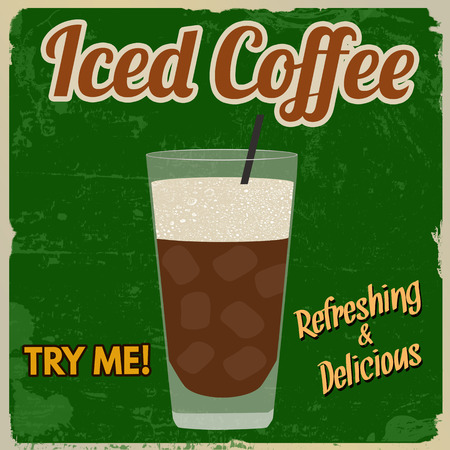 fredo: Iced coffee vintage grunge poster on green background, vector illustration