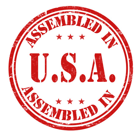 assembled: Assembled in USA grunge rubber stamp on white background, vector illustration