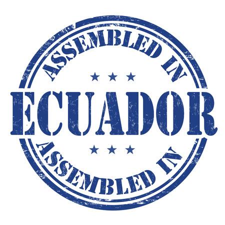 assembled: Assembled in Ecuador grunge rubber stamp on white background, vector illustration
