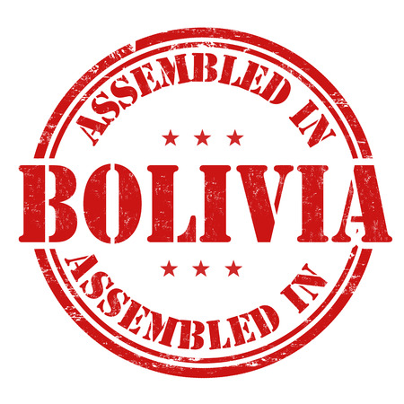 made manufacture manufactured: Assembled in Bolivia grunge rubber stamp on white background, vector illustration